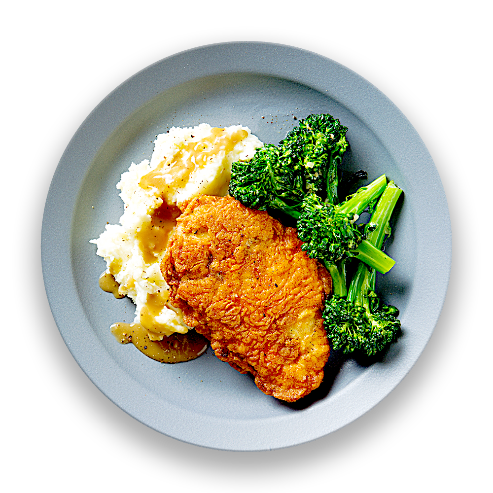 Buttermilk Fried Chicken with Mashed Potatoes & Garlic Roasted Broccoli
