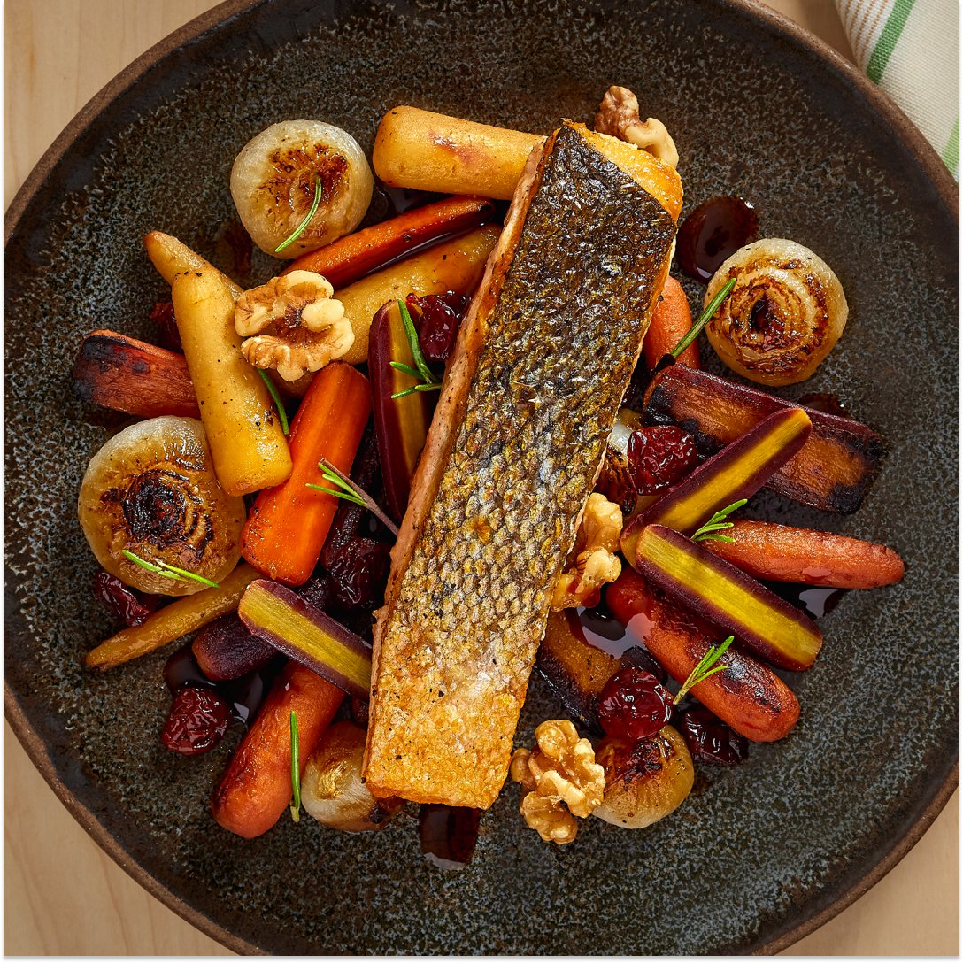 Pan-Roasted Salmon with Date Syrup-Glazed Rainbow Carrots with Dried Cranberries & Walnuts