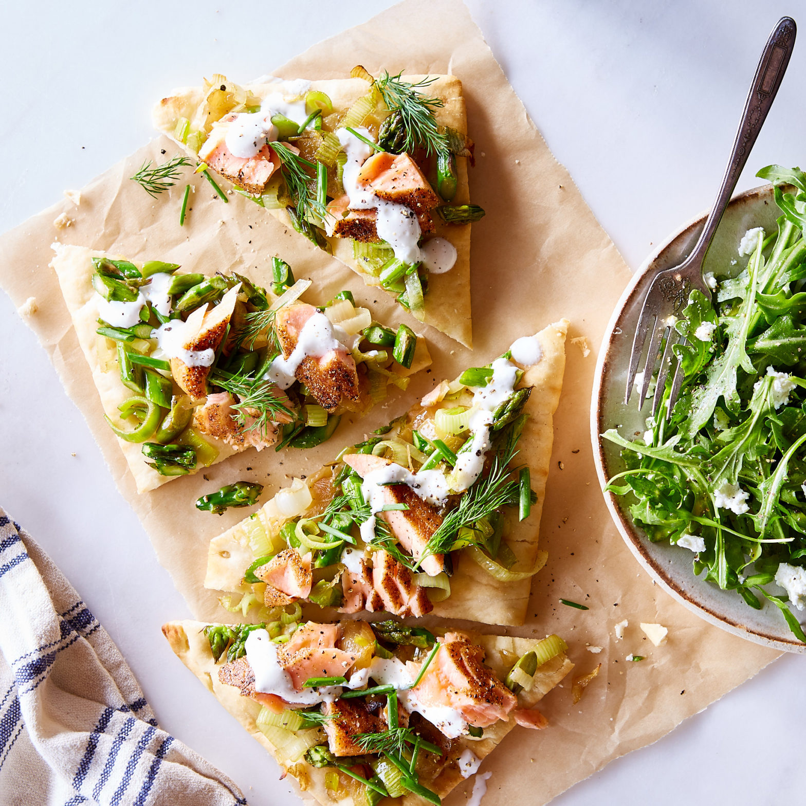 Everything Spice Smoked King Salmon Pizzette with Asparagus & Creme Fraiche