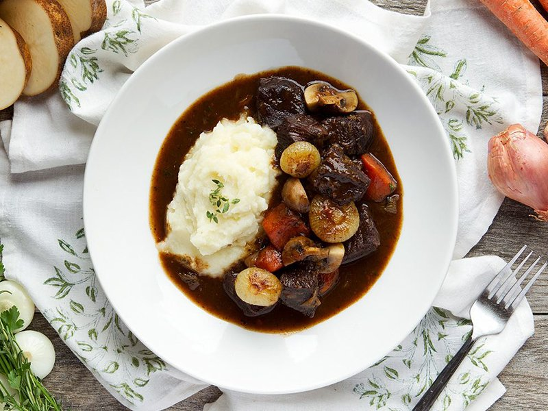 Classic Beef Bourguignon with Mashed Potatoes