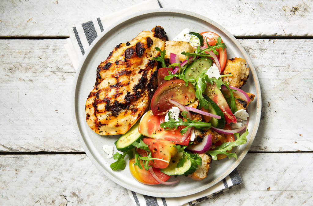 Grilled Rosemary Chicken and Heirloom Tomato Panzanella