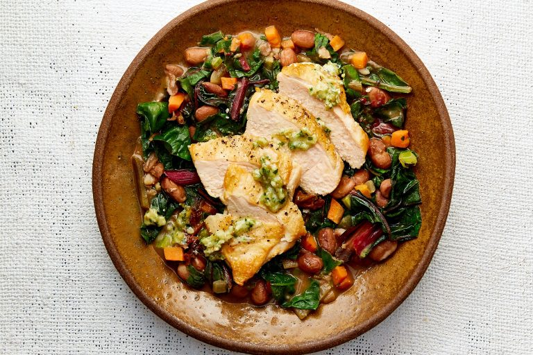 Tuscan Chicken Breast with White Bean and Chard Ragout