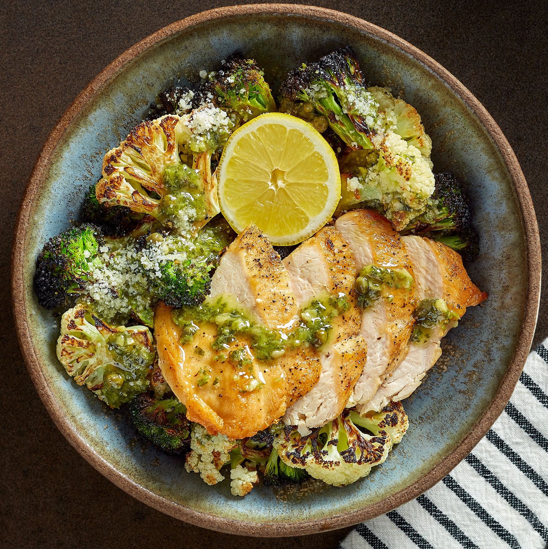 Pan-Roasted Chicken with Roasted Broccoli & Cauliflower with Italian Salsa Verde