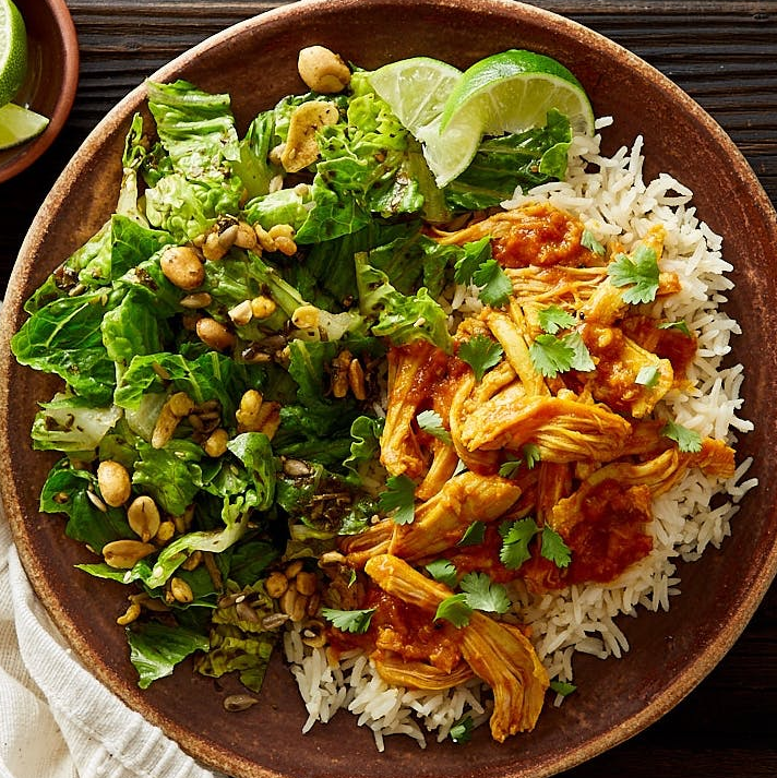 Burmese Shredded Chicken with Coconut Basmati Rice & Salad