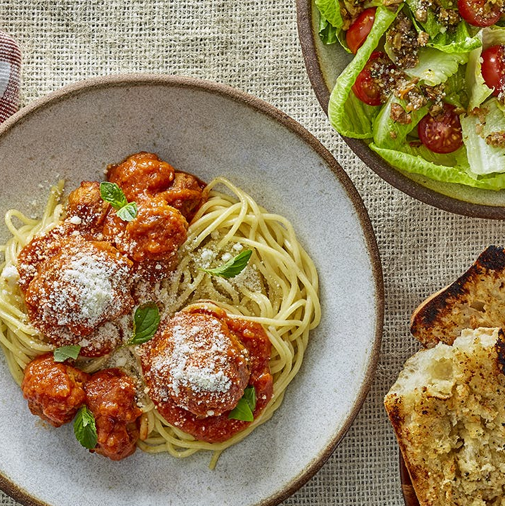 Sunday Supper Meatballs, Spaghetti, and Sausages with Garlic Bread and Italian Salad for Four
