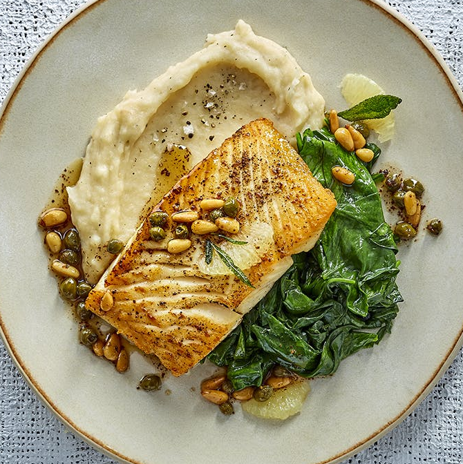 Sautéed Alaskan Halibut with Mashed Potatoes & Herbed Pine Nut Brown Butter