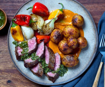 Argentinian-Style Steak with Patatas Bravas & Charred Vegetables