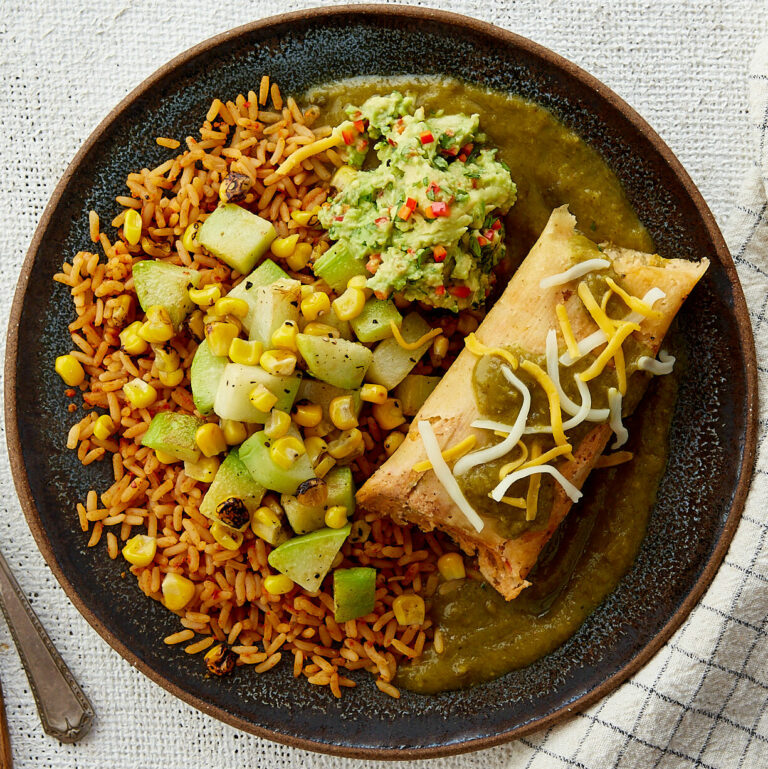 Green Chile Chicken Tamales with Mexican Rice & Guacamole