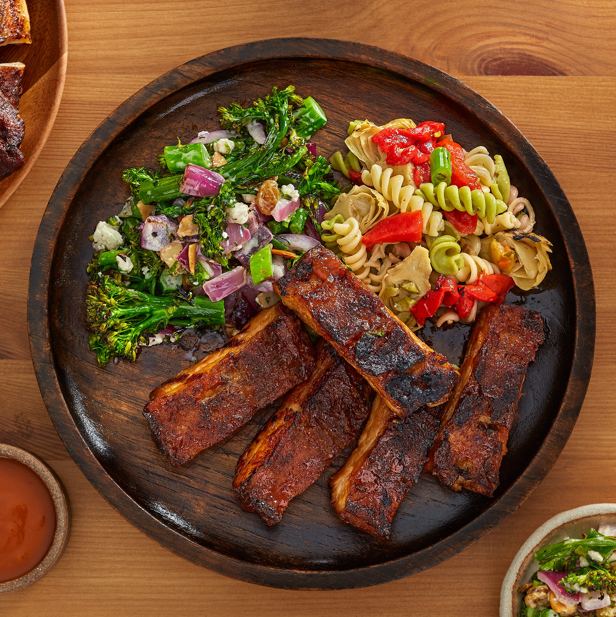 Barbecue Spare Ribs with Fusilli Pasta & Roasted Broccolini Crunch Salads for Four