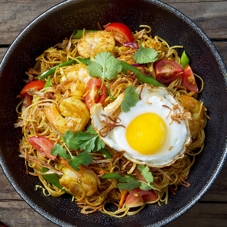 Singapore Street Noodles with Shrimp and Sunny-Side-Up Egg