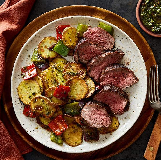 Argentinian Steak with Chimichurri Potatoes & Roasted Vegetables
