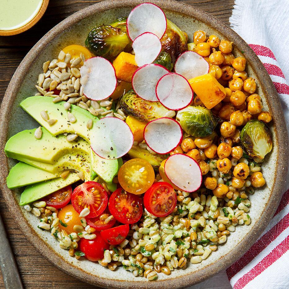 Roasted Vegetables & Harvest Grain Bowl with Sweet Basil Lemon Dressing