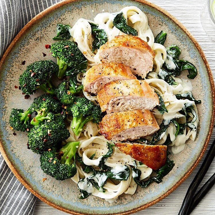 Chicken Fettuccine Alfredo with Spinach & Broccoli