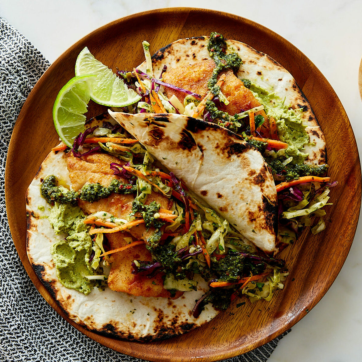 Chimichurri Fish Tacos with Shredded Cabbage