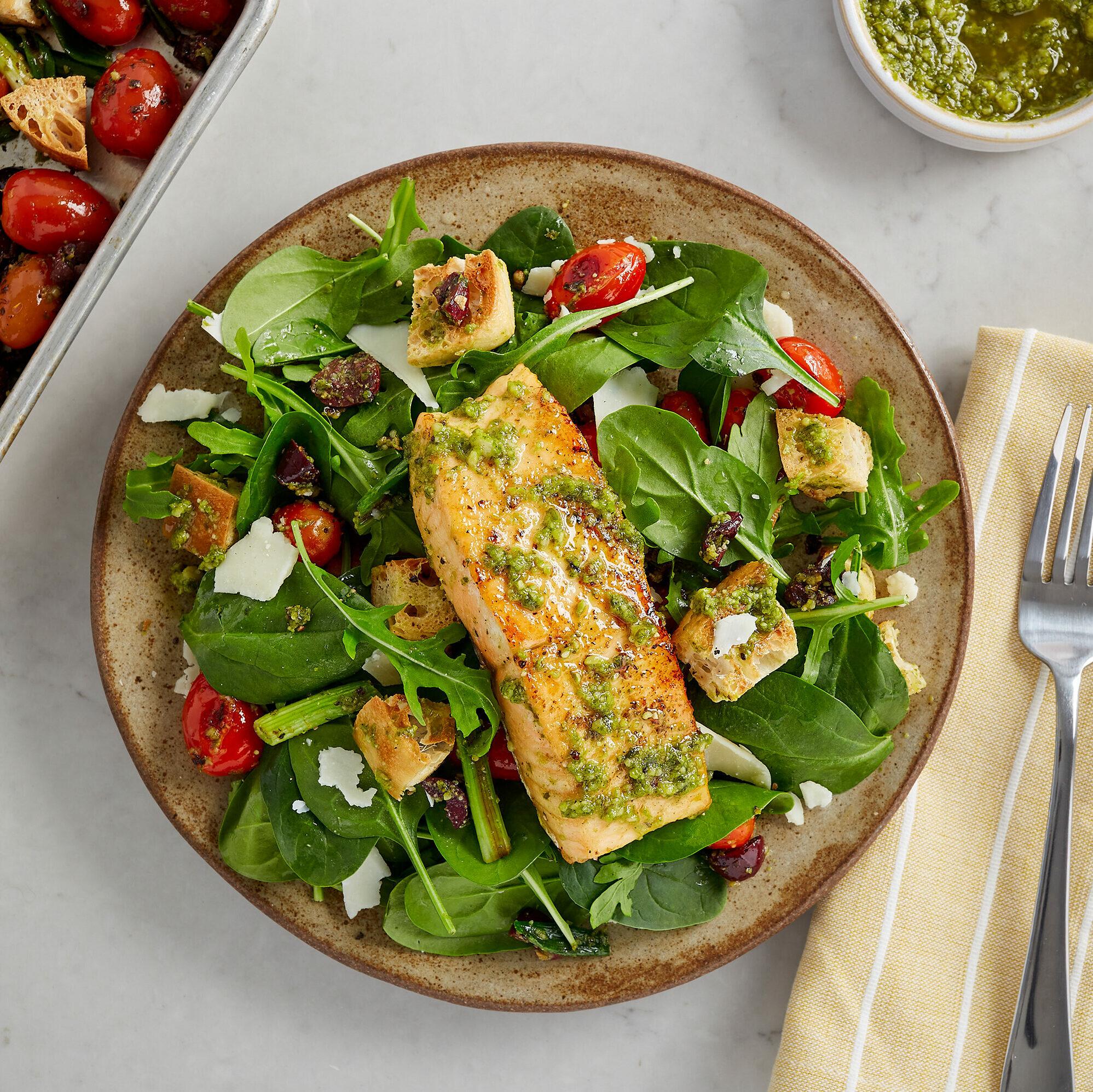 Sheet Pan Basil Pesto Salmon Panzanella with Arugula & Red Wine Vinaigrette