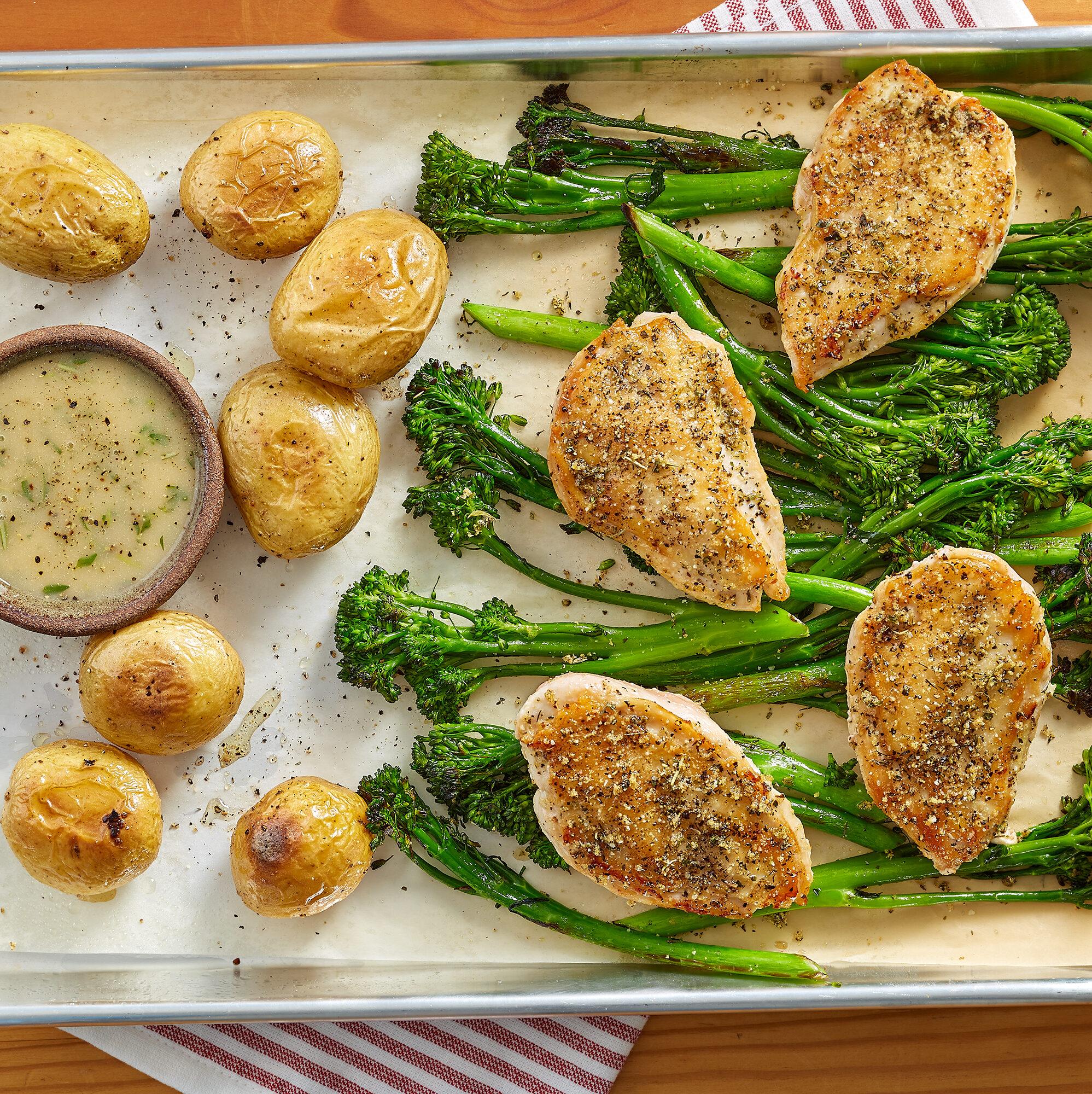 Sheet Pan Lemon Dijon Herb Chicken with Broccolini & Potatoes for Four