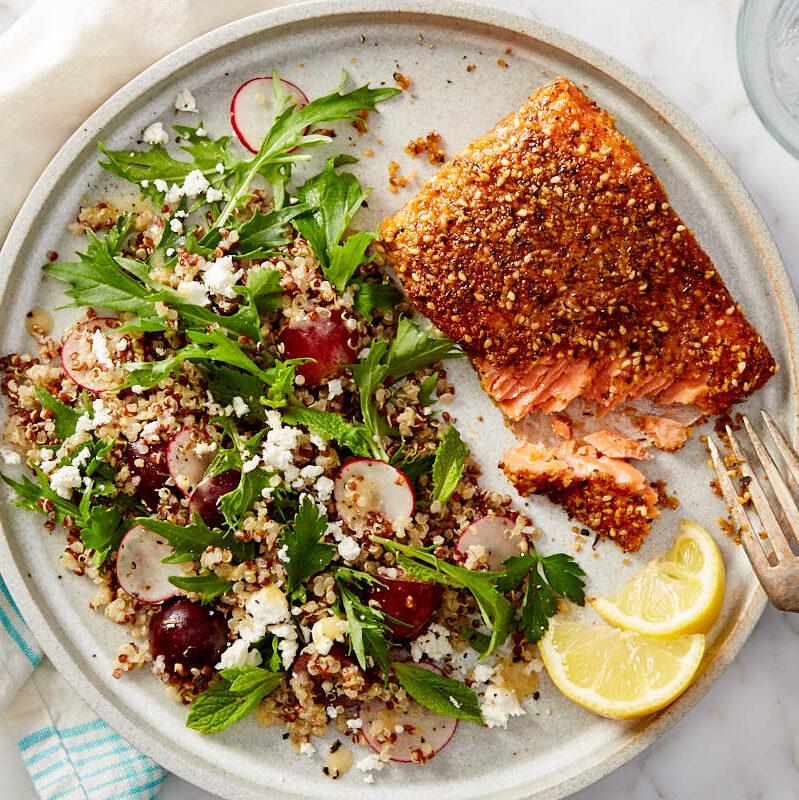 Dukkah Crusted Salmon with Quinoa & Arugula Salad