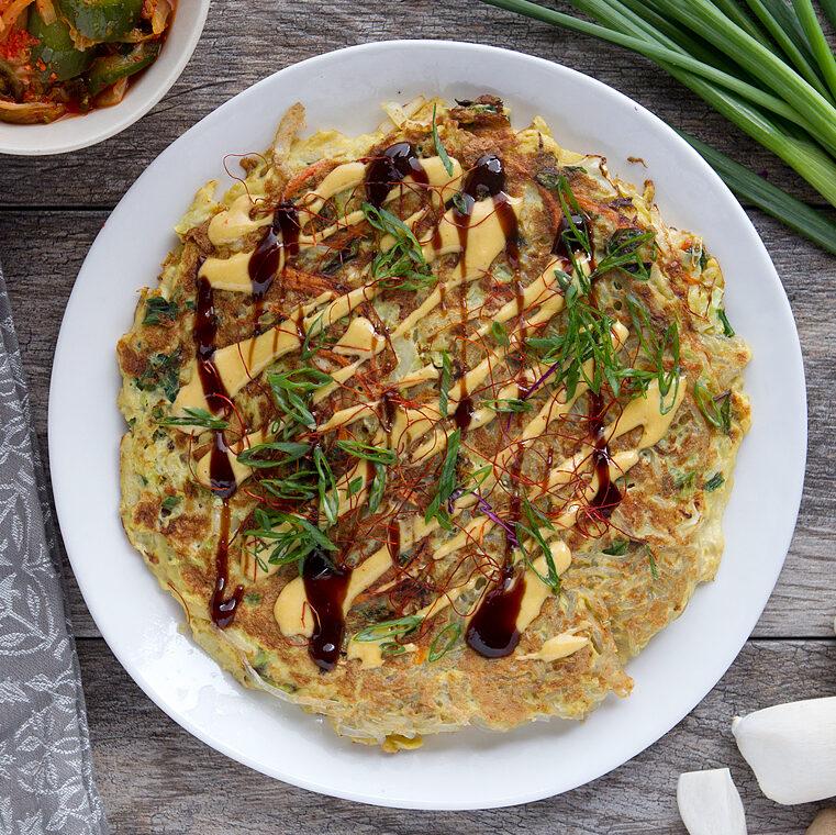 Japanese Okonomiyaki with Yakisoba Noodles