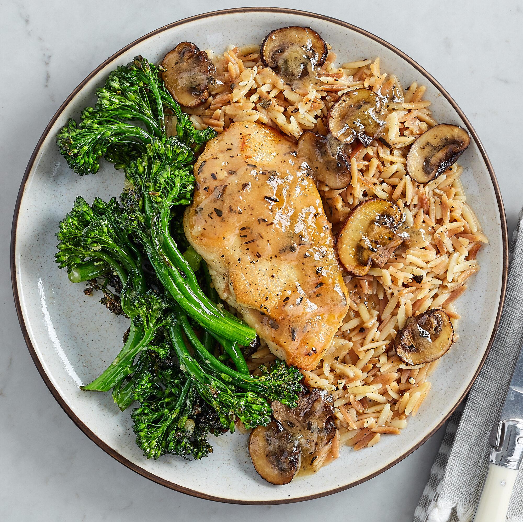 Mushroom Marsala Chicken with Orzo Pasta & Broccolini