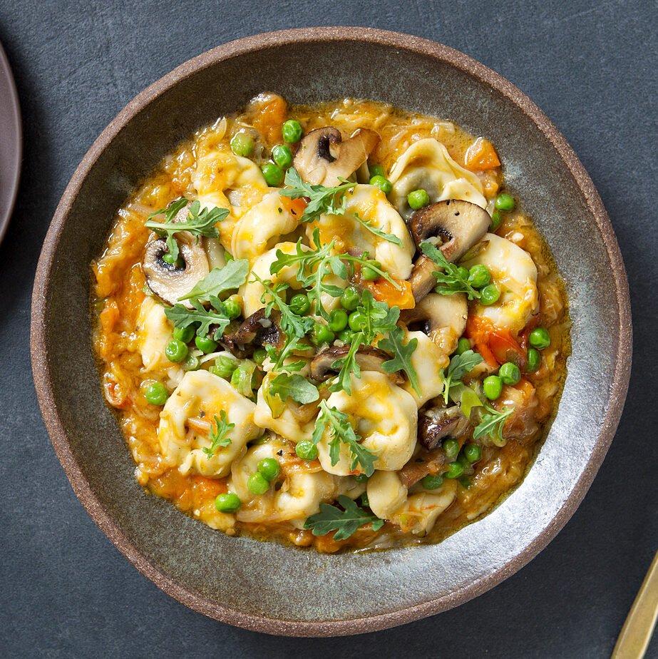Mushroom Tortellini with Spring Peas & Pomodoro Sauce
