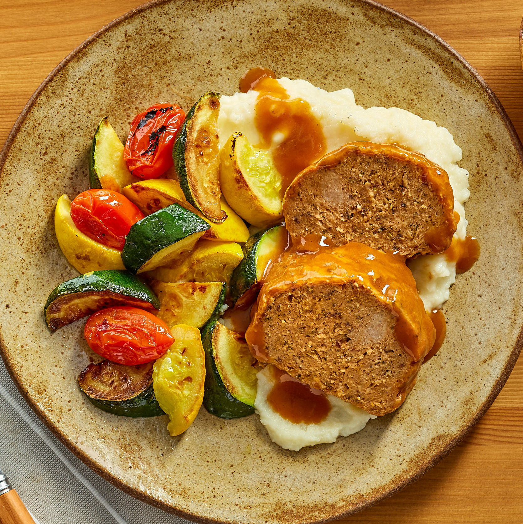 Sunday Meatloaf with Mashed Potatoes, Gravy and Sautéed Vegetables for Four