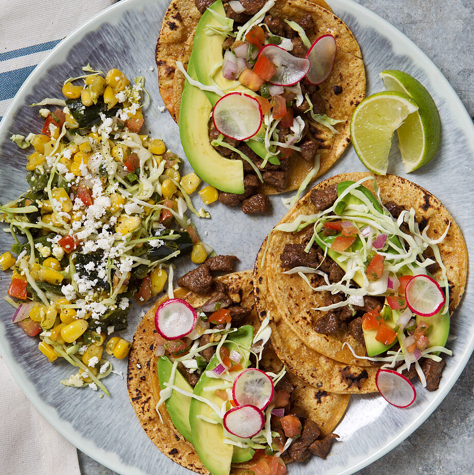 Carne Asada Street Tacos with Avocado & Poblano Elote Salad