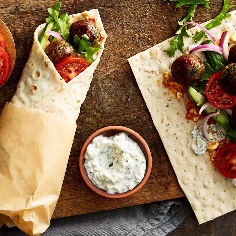Mediterranean Falafel Wrap with Feta Cheese & Tzatziki Sauce