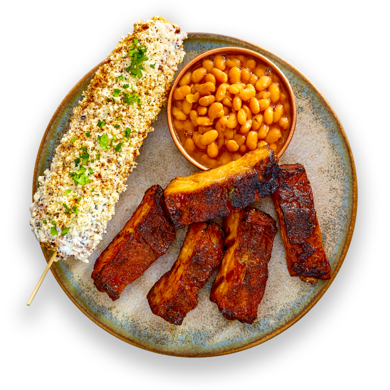 Spare Ribs with Baked Beans & Fiesta Grilled Corn