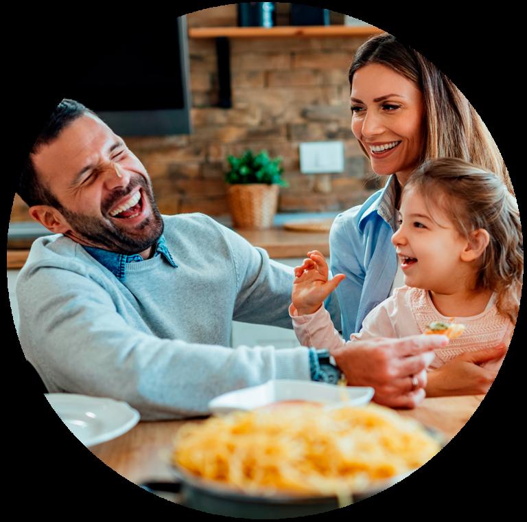 Family enjoying Gobble meal